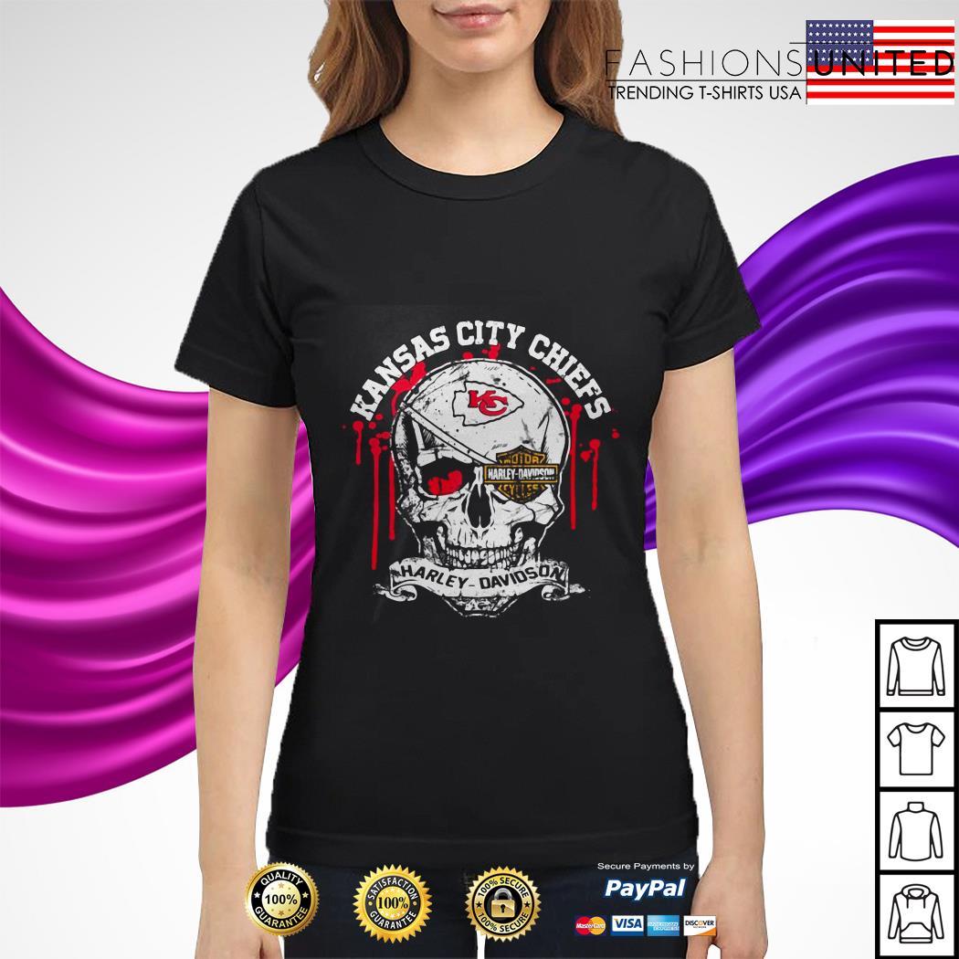 Kansas City Chiefs Motor Harley Davidson Skull ladies tee