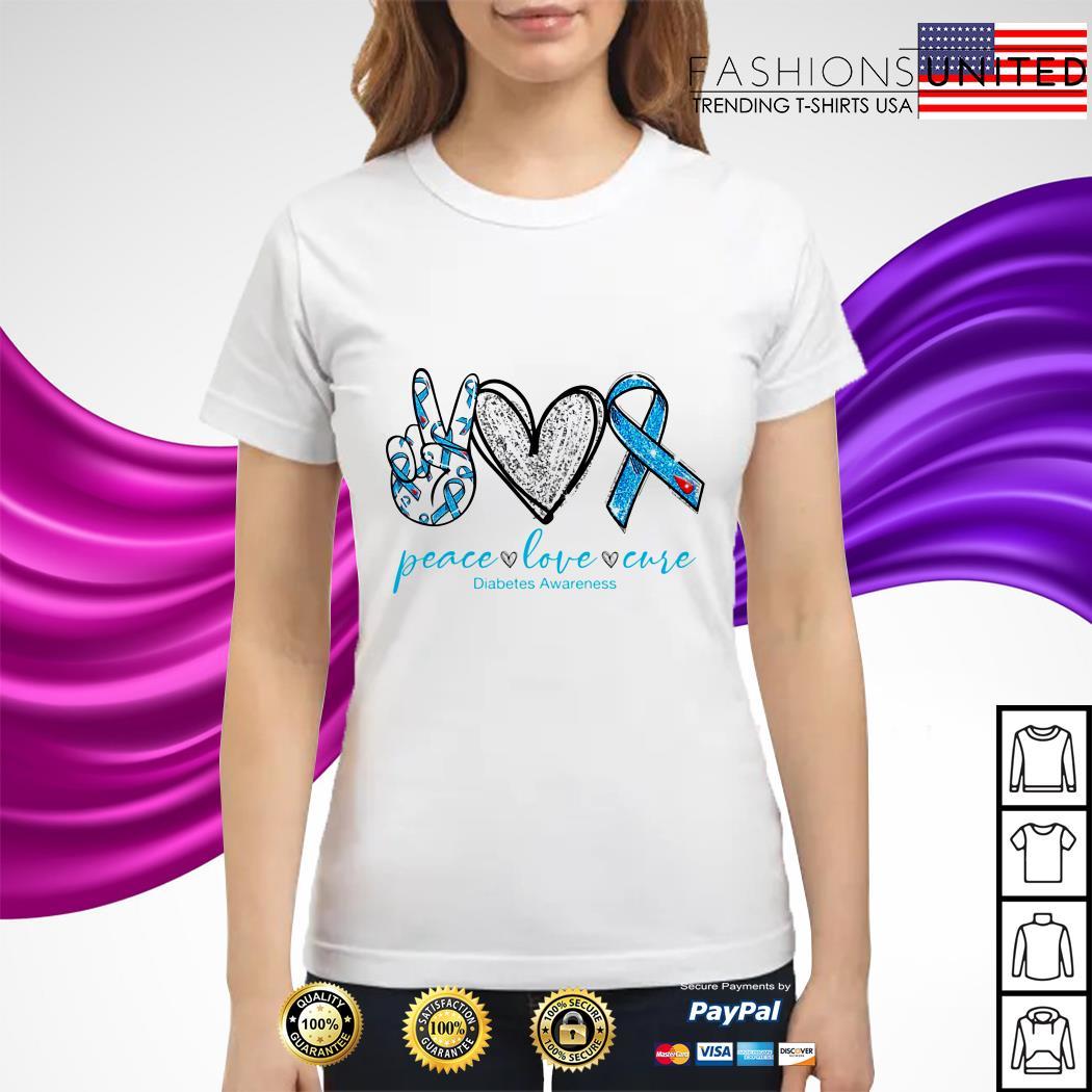 Peace love care diabetes awareness ladies tee