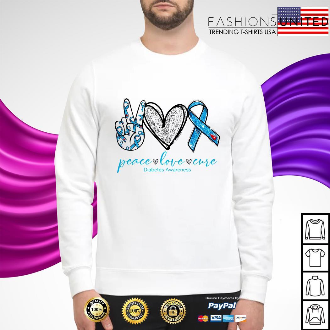 Peace love care diabetes awareness sweater