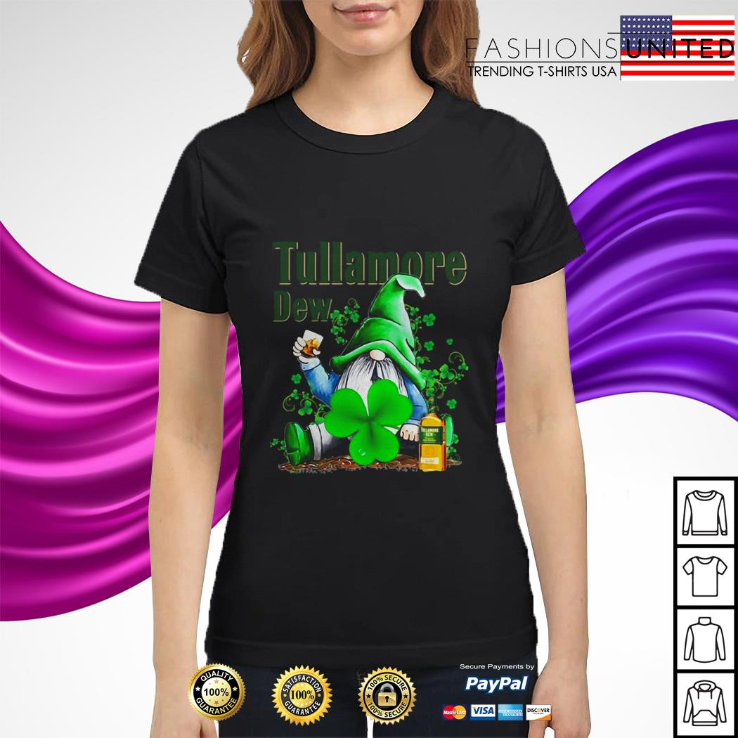 St Patrick's day Gnome drinking Tullamore Dew ladies tee