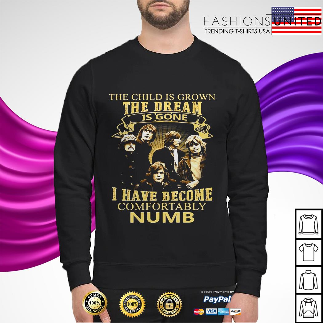 The child is grown the dream is gone I have become comfortably Numb sweater
