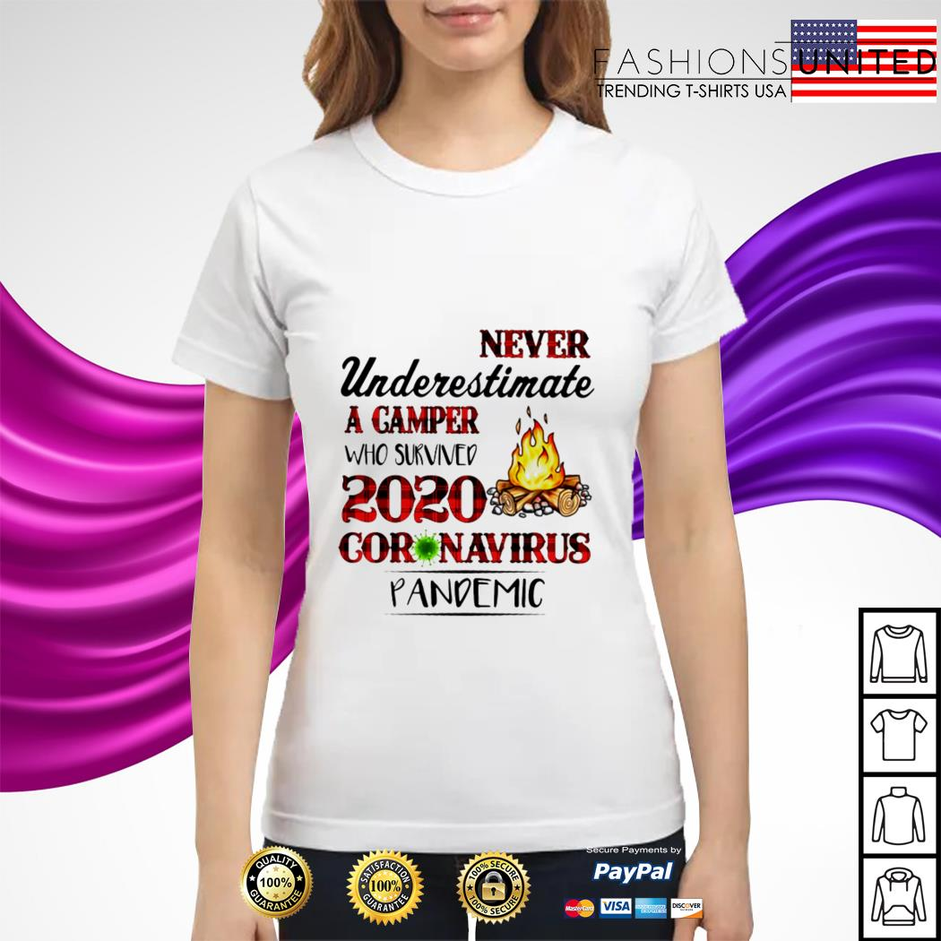 Never underestimate a Camper who survived 2020 coronavirus pandemic ladies tee