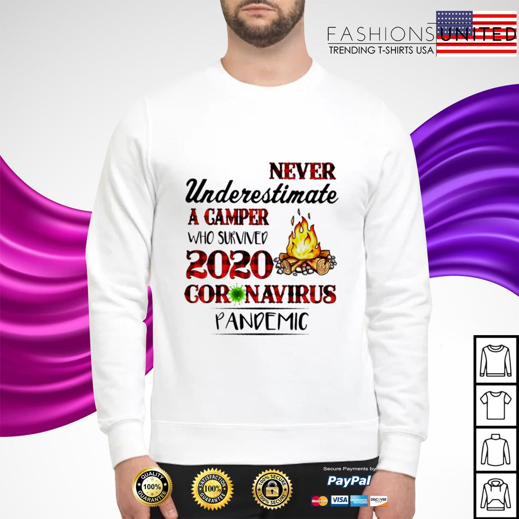 Never underestimate a Camper who survived 2020 coronavirus pandemic sweater