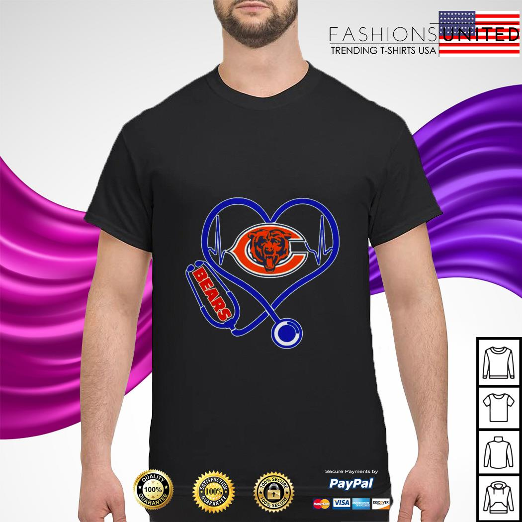 Stethoscope heart beat Chicago Bears shirt