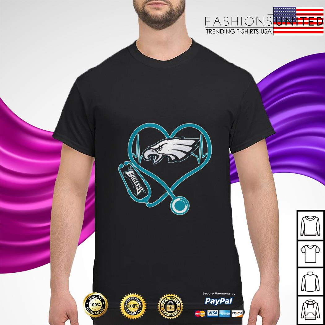 Stethoscope heart beat Eagles shirt