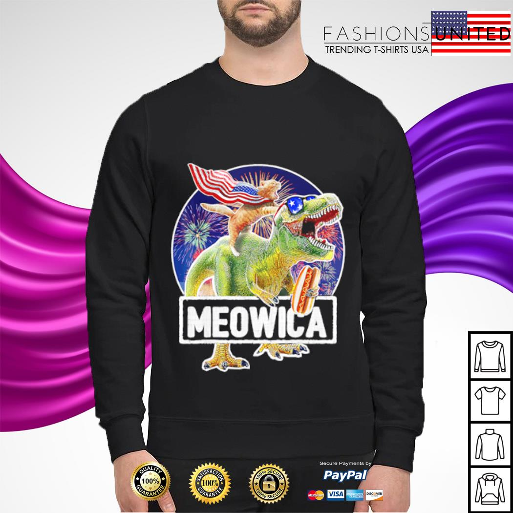 Cat Riding Dinosaur Meowica 4th of July s sweater