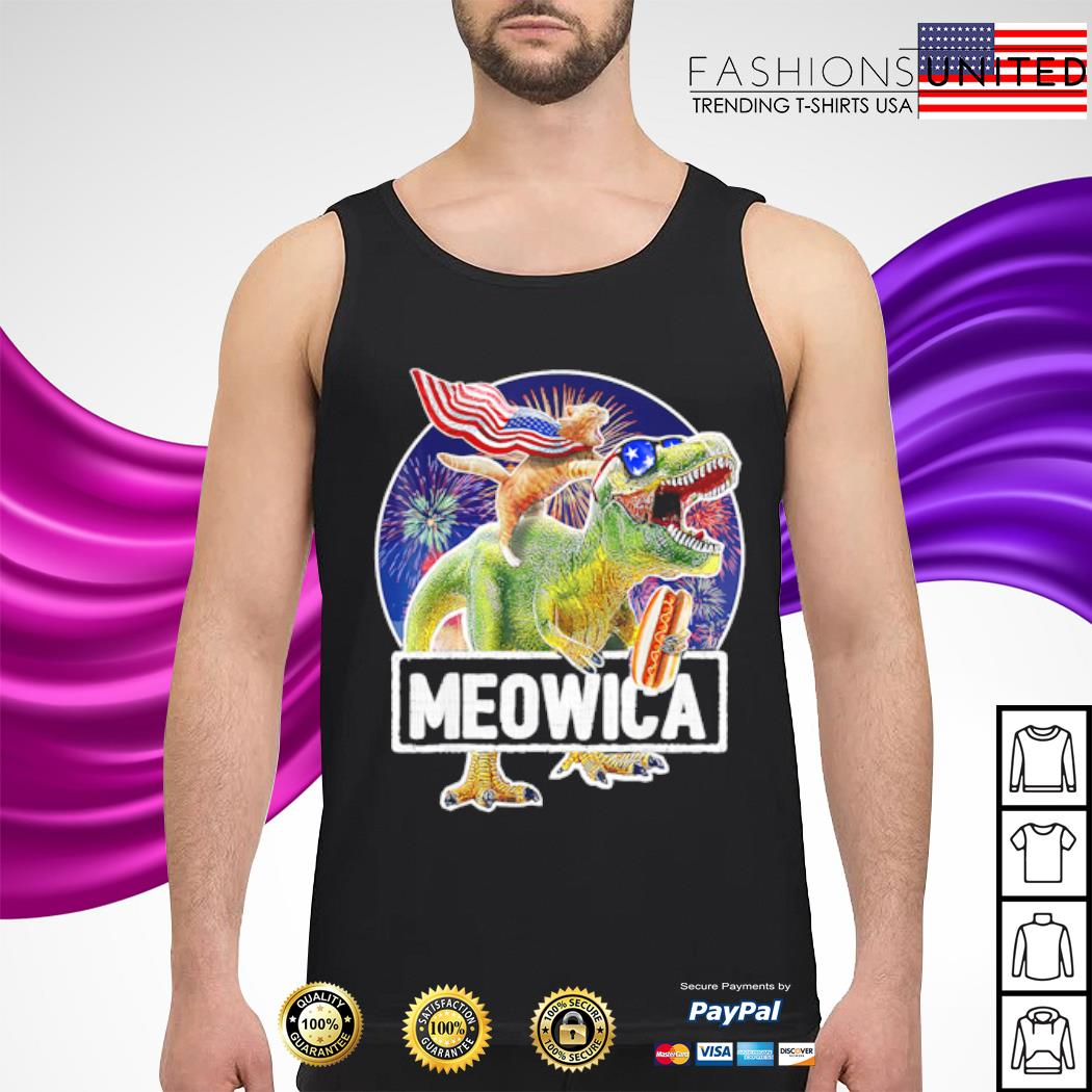 Cat Riding Dinosaur Meowica 4th of July s tank-top