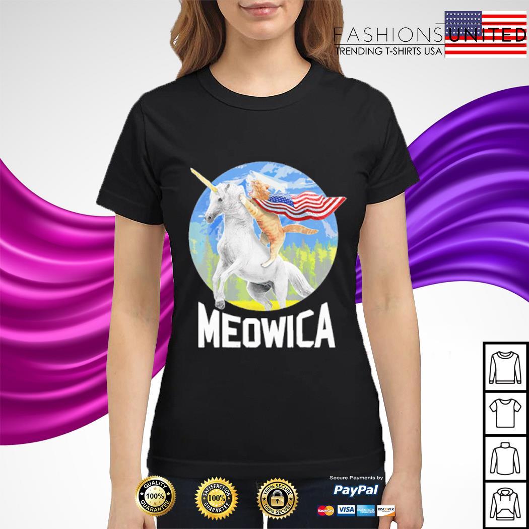 Cat riding Unicorn Meowica 4th of July s ladies-tee