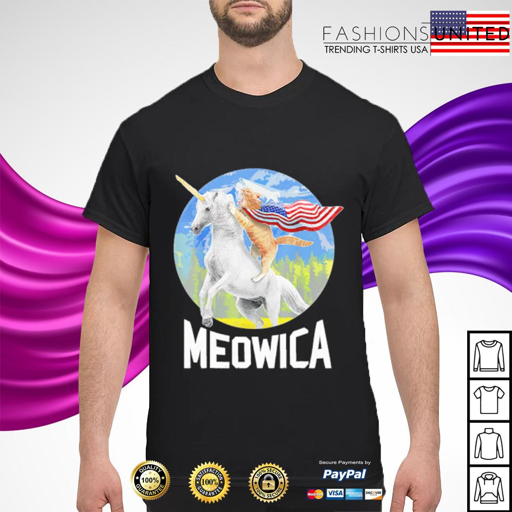 Cat riding Unicorn Meowica 4th of July shirt