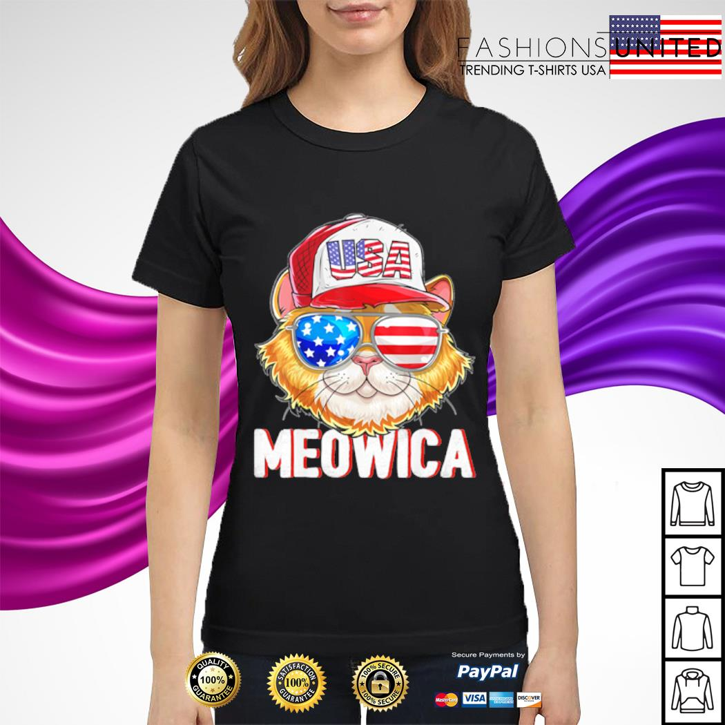 USA Cat Meowica Independence Day 4th Of July s ladies-tee