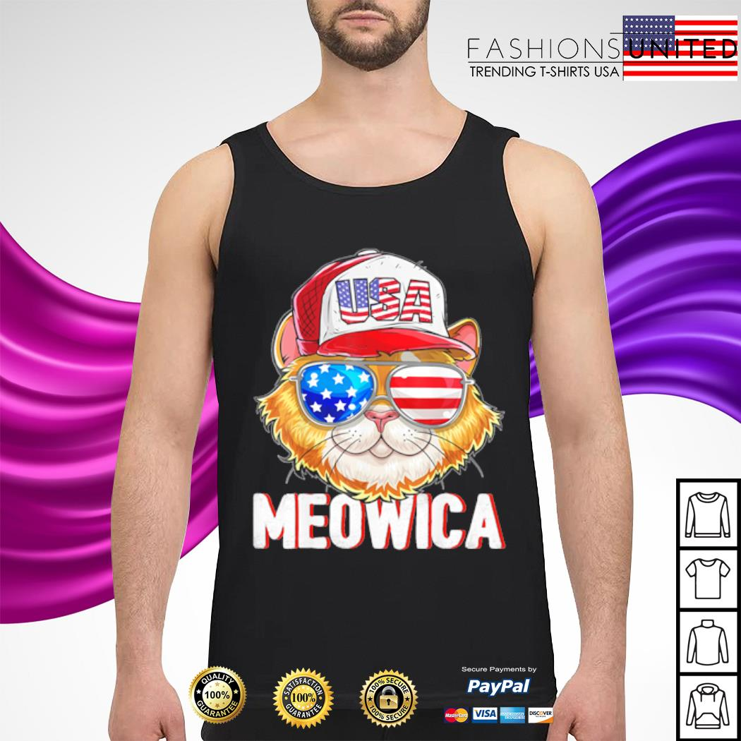 USA Cat Meowica Independence Day 4th Of July s tank-top