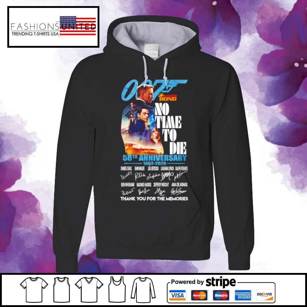007 James bond no time to die 58th anniversary 1962 2020 signature s hoodie