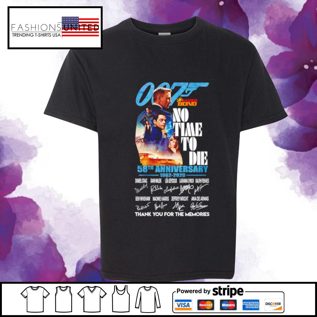 007 James bond no time to die 58th anniversary 1962 2020 signature s youth-tee