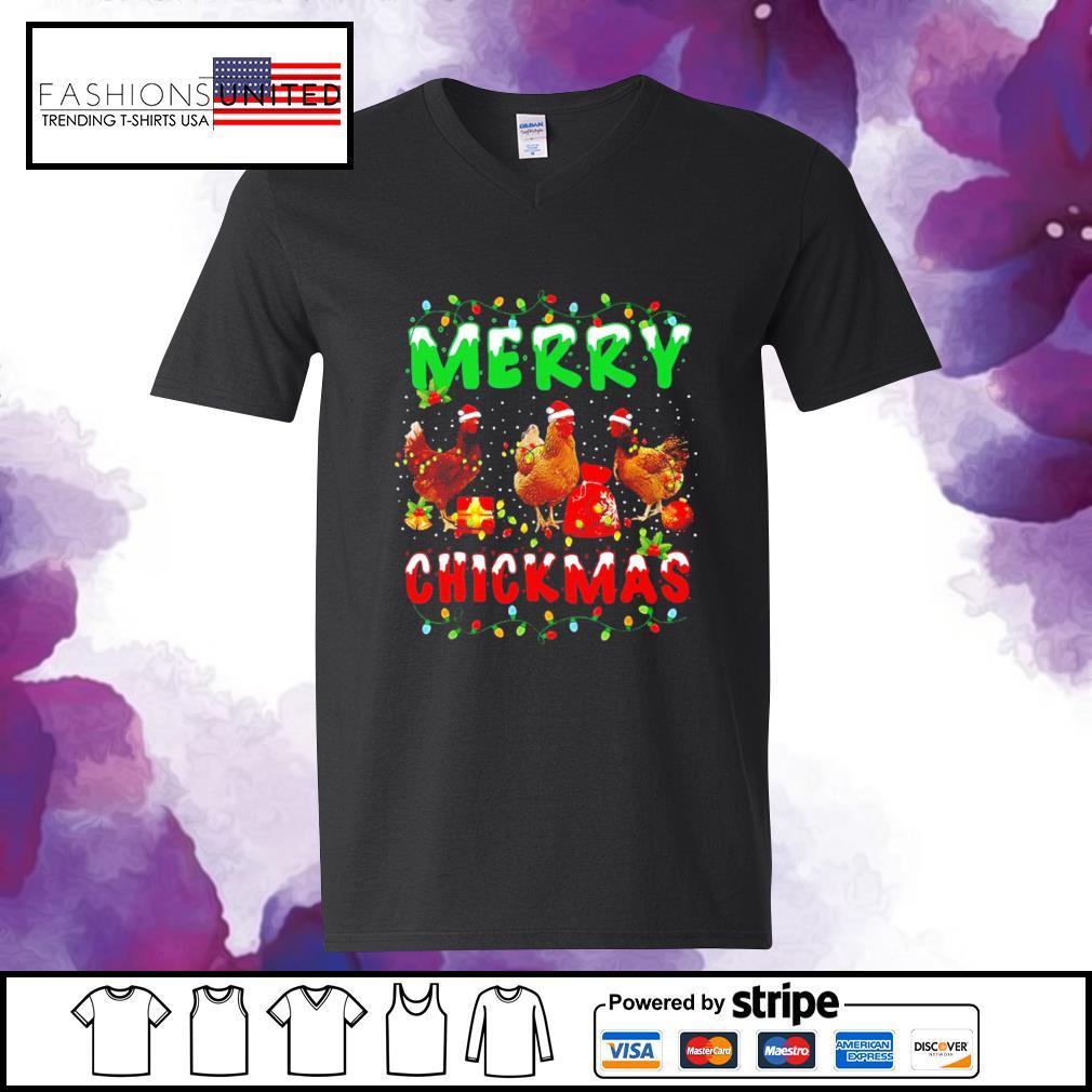 Chickens Merry Chickmas s v-neck-t-shirt