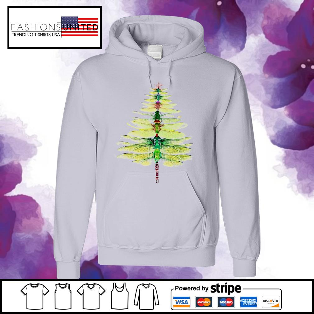 Dragonfly Christmas Tree Print Shirt hoodie