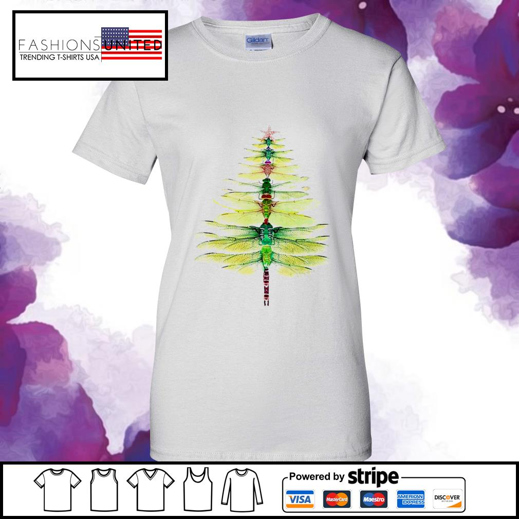 Dragonfly Christmas Tree Print Shirt ladies-tee