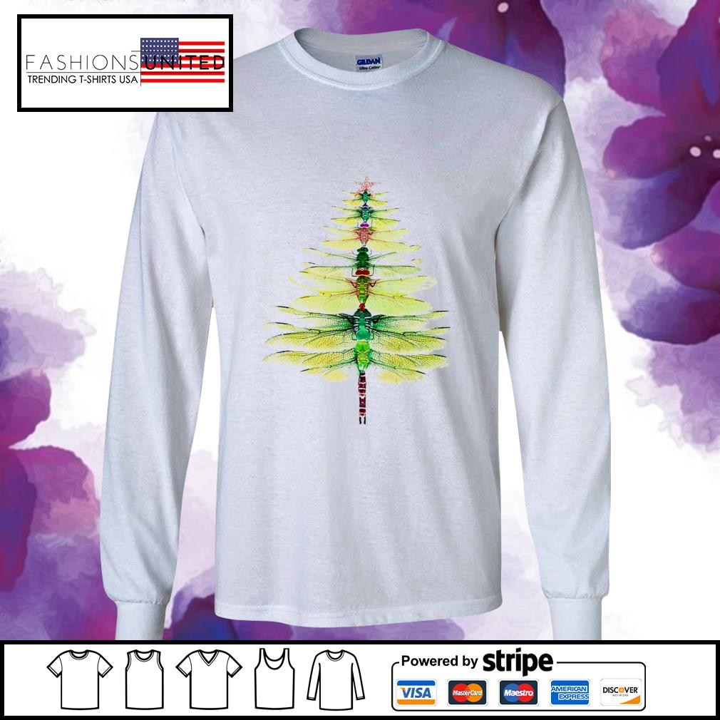 Dragonfly Christmas Tree Print Shirt longsleeve-tee