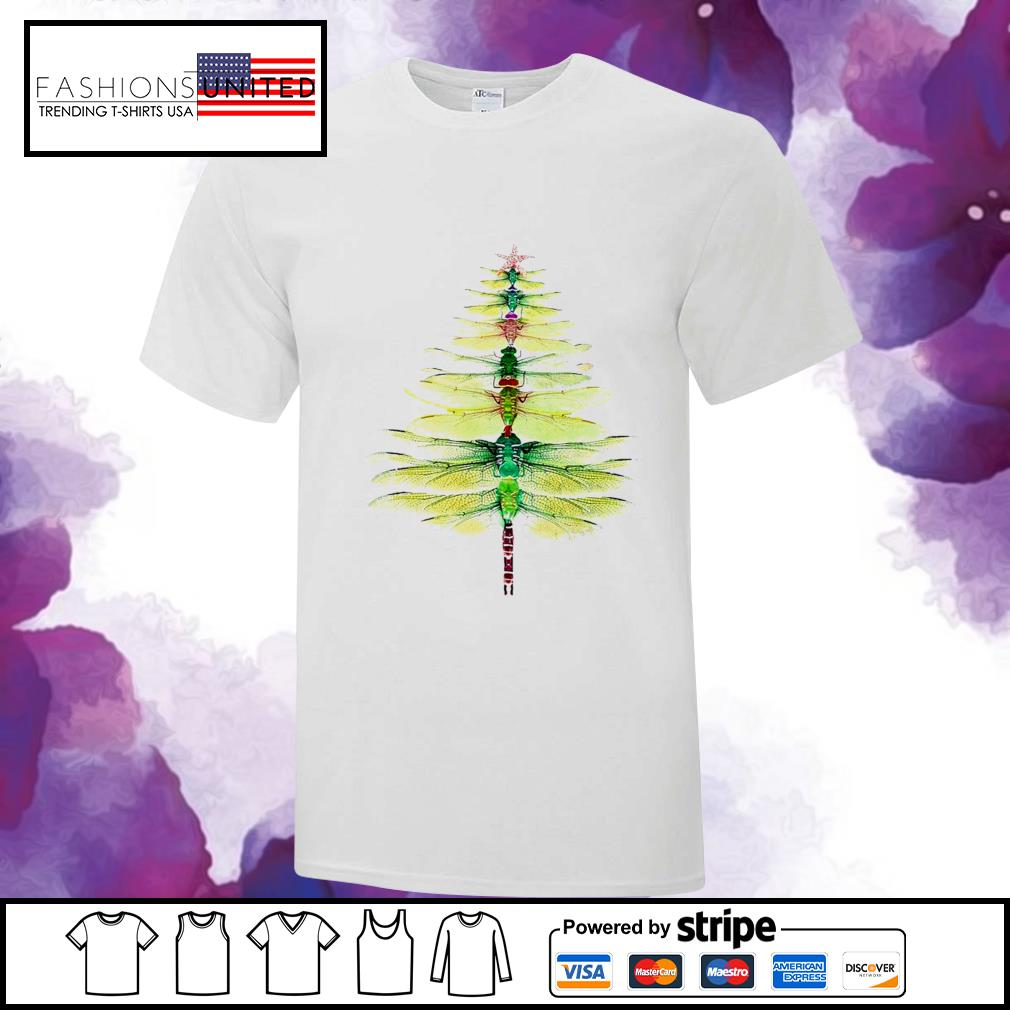 Dragonfly Christmas Tree Print Shirt