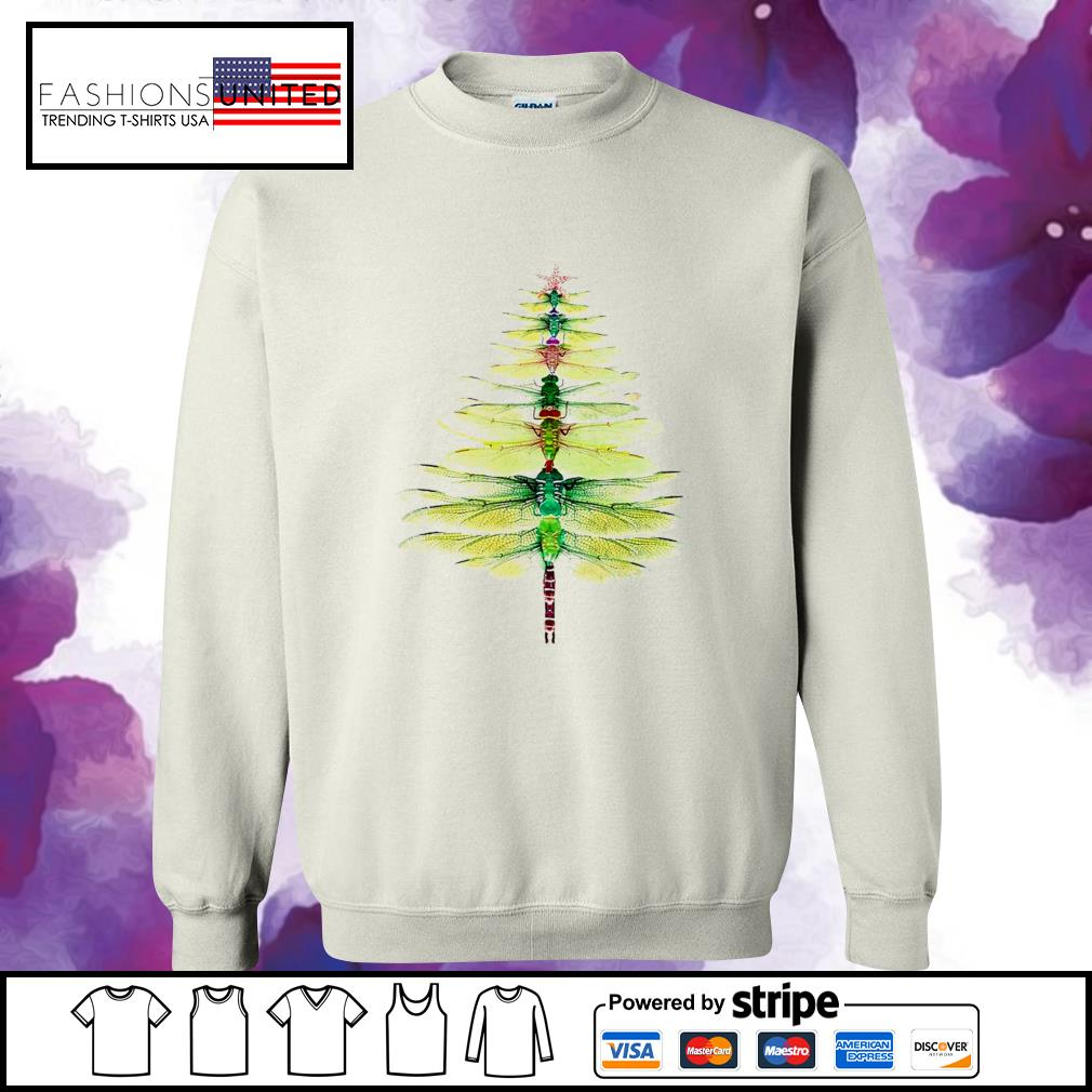 Dragonfly Christmas Tree Print Shirt sweater