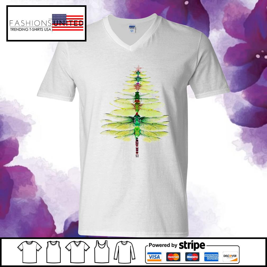 Dragonfly Christmas Tree Print Shirt v-neck-t-shirt