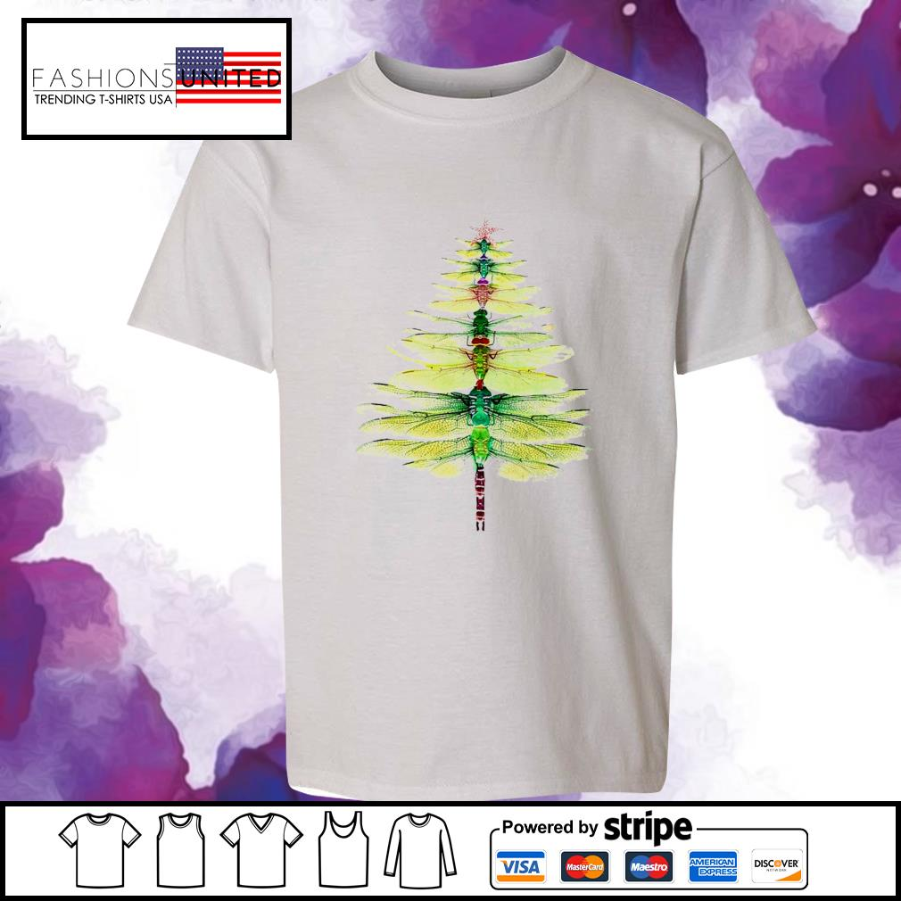 Dragonfly Christmas Tree Print Shirt youth-tee